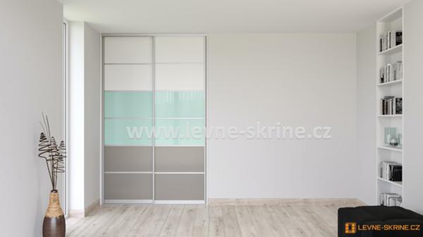Vestavěná skříň dvoudveřová 6x dělené dveře