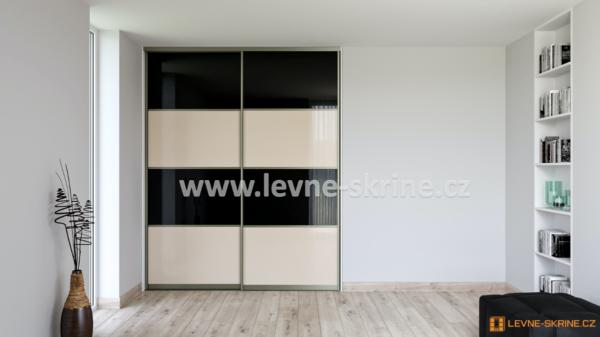 Vestavěná skříň dvoudveřová 4x dělené dveře Lacobel černý, Lacobel Cappuccino