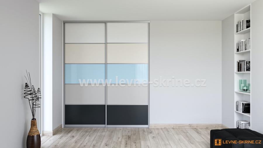 Vestavěná skříň dvoudveřová 5x dělené dveře