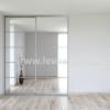Vestavěná skříň dvoudveřová 5x dělené dveře zrcadlo čiré