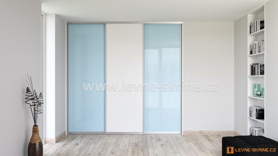 Vestavěná skříň třídveřová Lacobel modrý pastel, Bílá Briliant