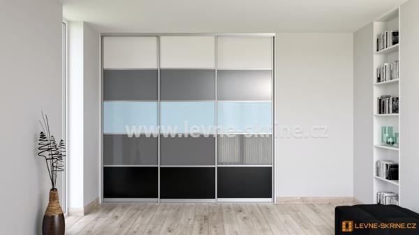 Vestavěná skříň třídveřová 5x dělené dveře Lacobel
