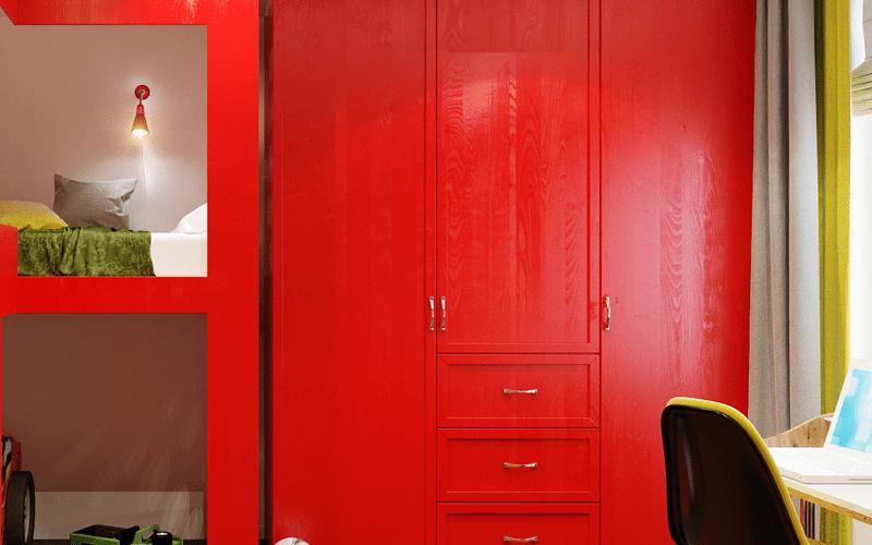 Vestavěná skříň rozzáří dětský pokoj barvami a zastane i další funkce